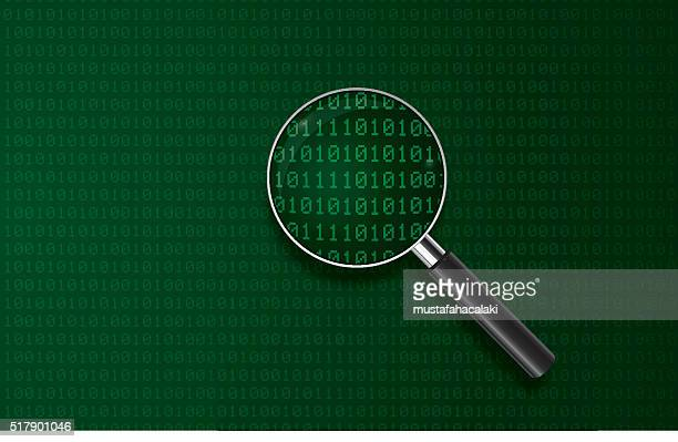magnifying glass with digital codes - composition stock illustrations