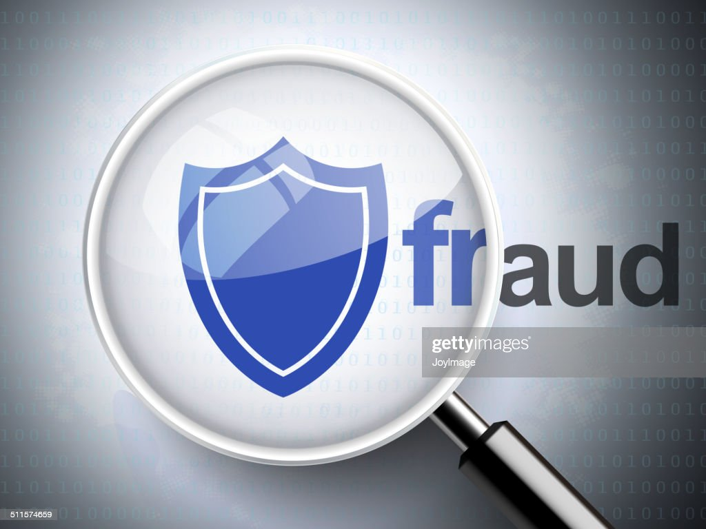 Magnifying Glass With Shield Icon And Fraud Word Vector Art Getty