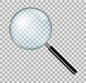 Magnifying glass with steel frame isolated. Realistic Magnifying glass lens for zoom on checkered background. vector illustration