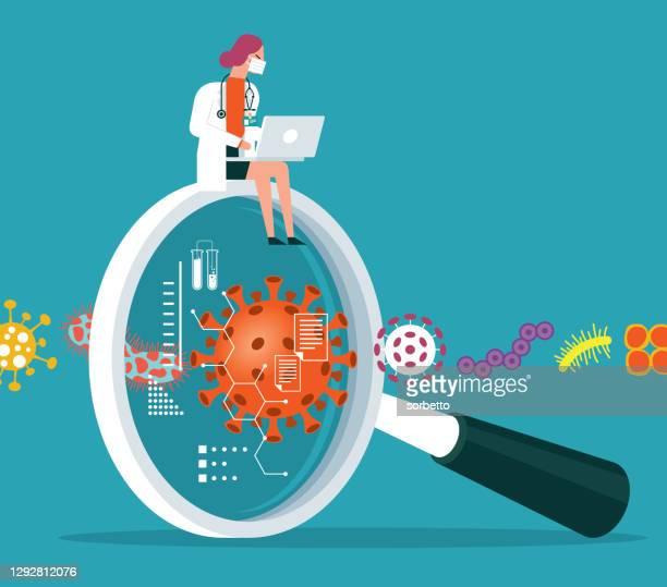 magnifying lens illustration with viruses - female doctor - retrovirus stock illustrations