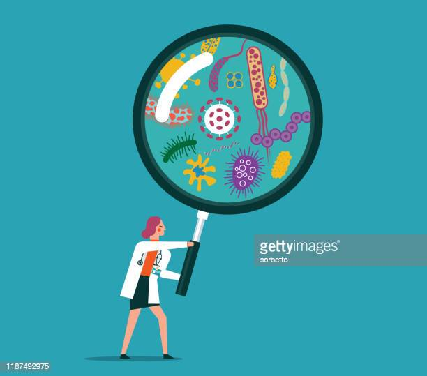 magnifying lens - viruses - infectious disease stock illustrations