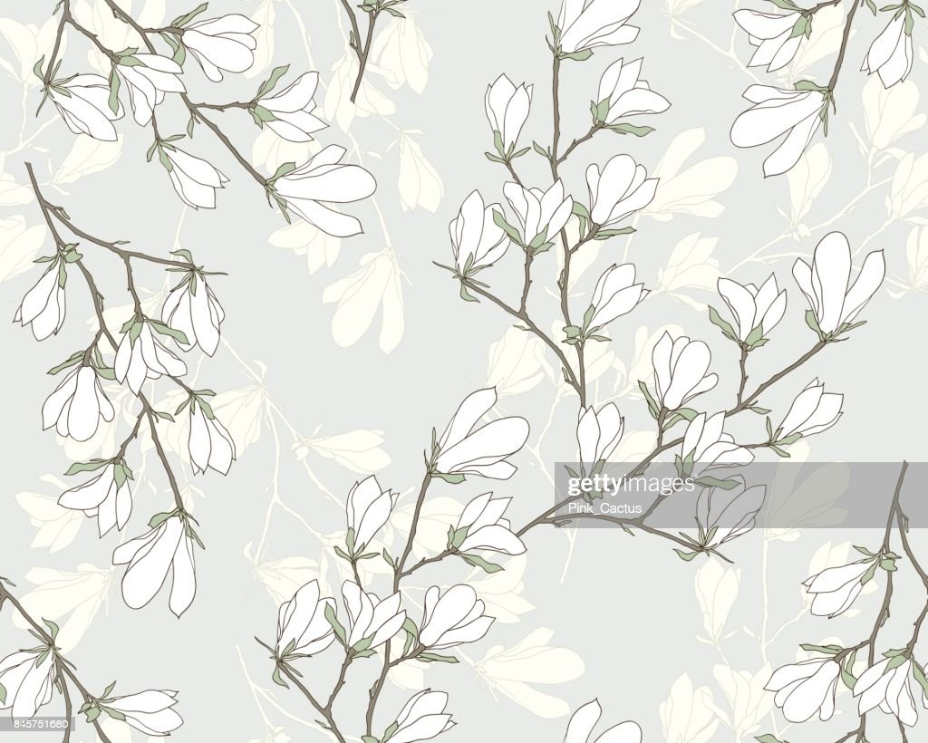 Magnolia Floral Vector Seamless Pattern