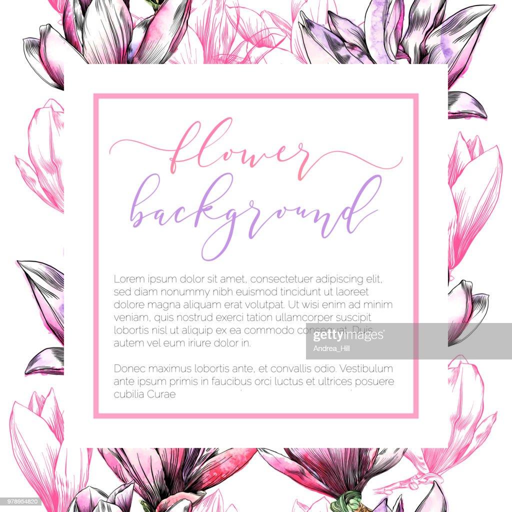 Magnolia flower design template on seamless pattern in watercolor magnolia flower design template on seamless pattern in watercolor and ink vector art maxwellsz