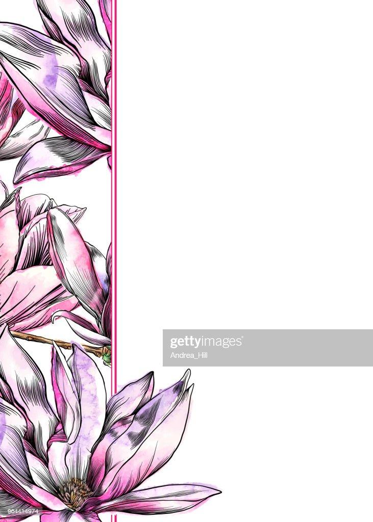 Magnolia flower design template with watercolor and pen and ink magnolia flower design template with watercolor and pen and ink elements vector art maxwellsz