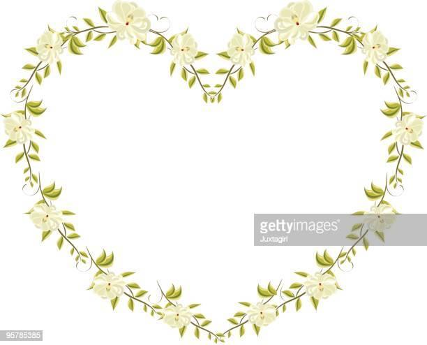 ilustraciones, imágenes clip art, dibujos animados e iconos de stock de magnolia corazón floral - enredadera