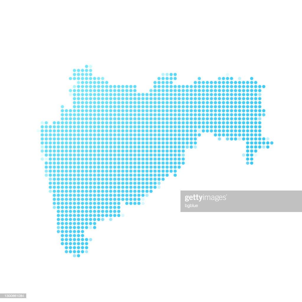 白い背景に青い点でマハラシュトラ州の地図 : ストックイラストレーション