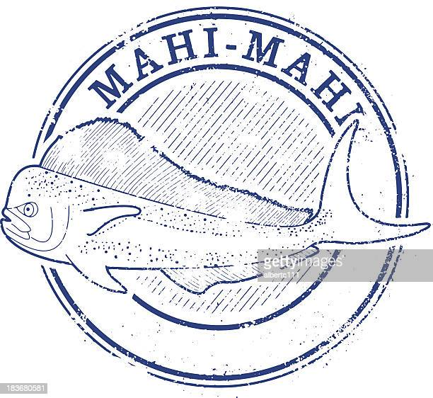 mahi stamp - dolphin fish stock illustrations