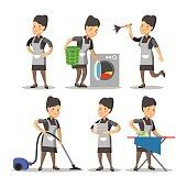 Maid Cartoon in a Classic Uniform. Cleaning Service
