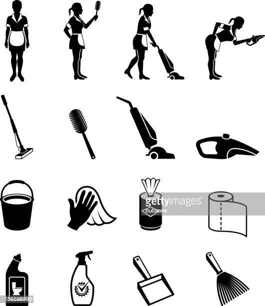 maid cleaning help service black and white vector icon set - broom stock illustrations, clip art, cartoons, & icons