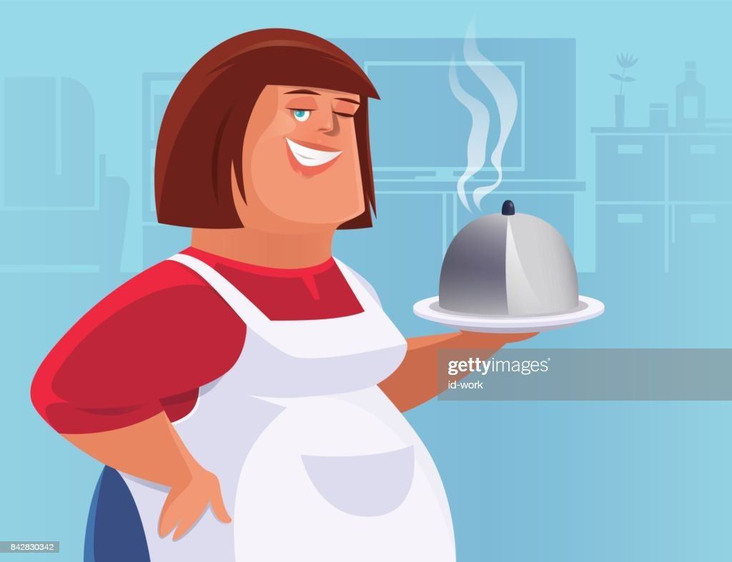 maid holding disk of food : stock illustration