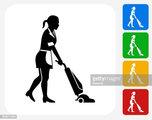 maid icon flat graphic design - maid stock illustrations, clip art, cartoons, & icons