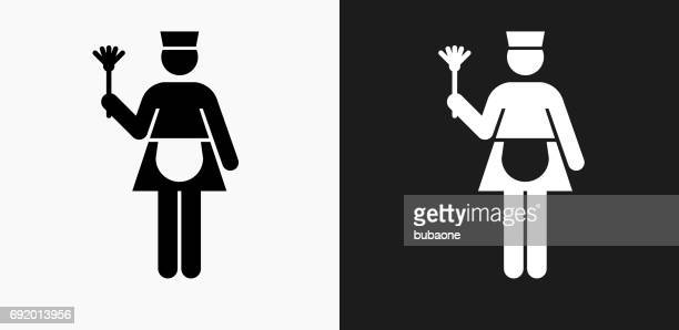 maid icon on black and white vector backgrounds - clip art stock illustrations, clip art, cartoons, & icons