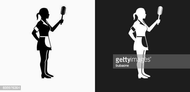 黒と白のベクトルの背景 [メイド] アイコン