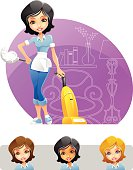 Maid or Cleaning Lady Holding Duster and Vacuum Cleaner