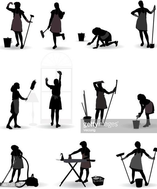 maid - housework stock illustrations, clip art, cartoons, & icons