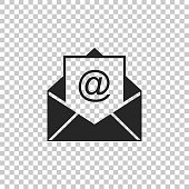 Mail and e-mail icon isolated on transparent background. Envelope symbol e-mail. Email message sign. Flat design. Vector Illustration