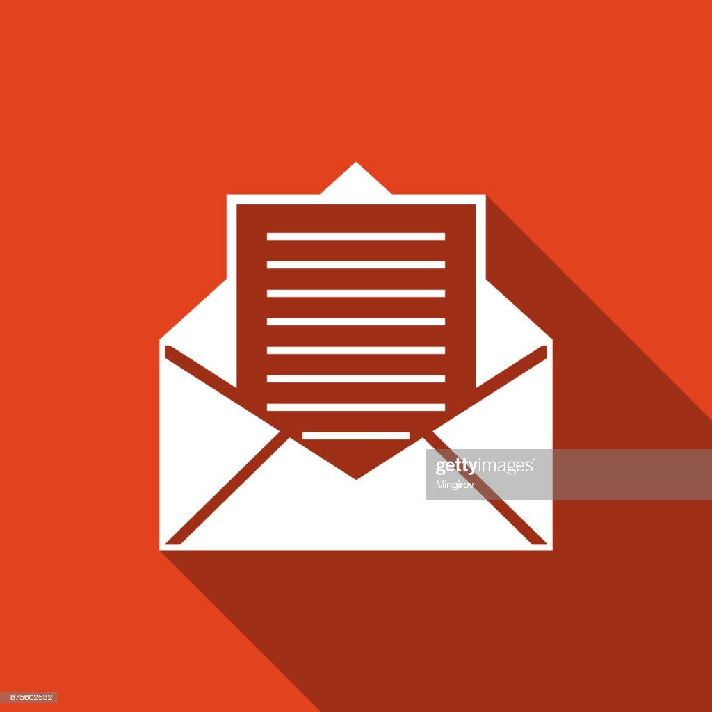 Mail And Email Icon Isolated With Long Shadow Envelope Symbol Email