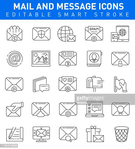 mail and messaging icons. editable stroke collection - e mail inbox stock illustrations