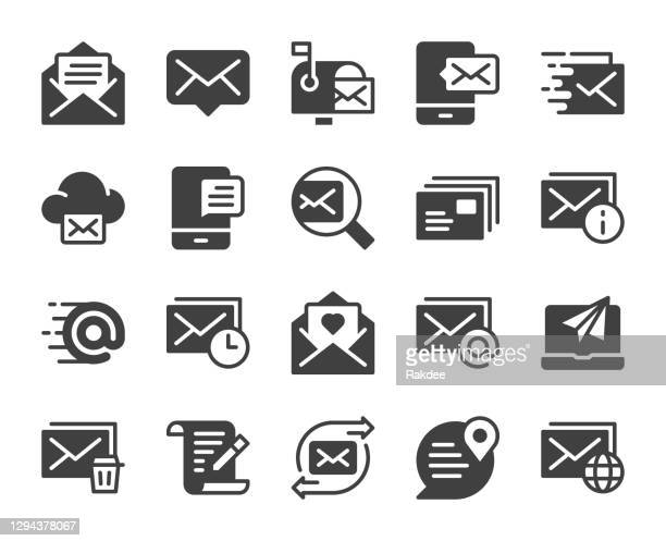 mail and messaging - icons - junk mail stock illustrations