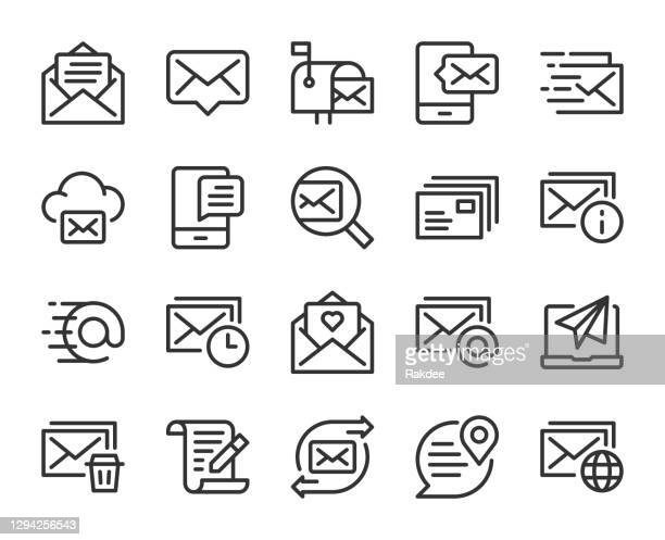 mail and messaging - line icons - junk mail stock illustrations