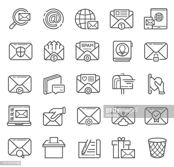 mail and messaging line icons with searching, communication, medicine and business sign - outbox filing tray stock illustrations