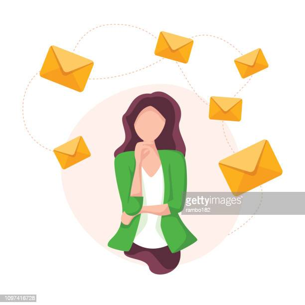 mail and modern communication concept with thinking business woman. teamwork and marketing. - e mail inbox stock illustrations
