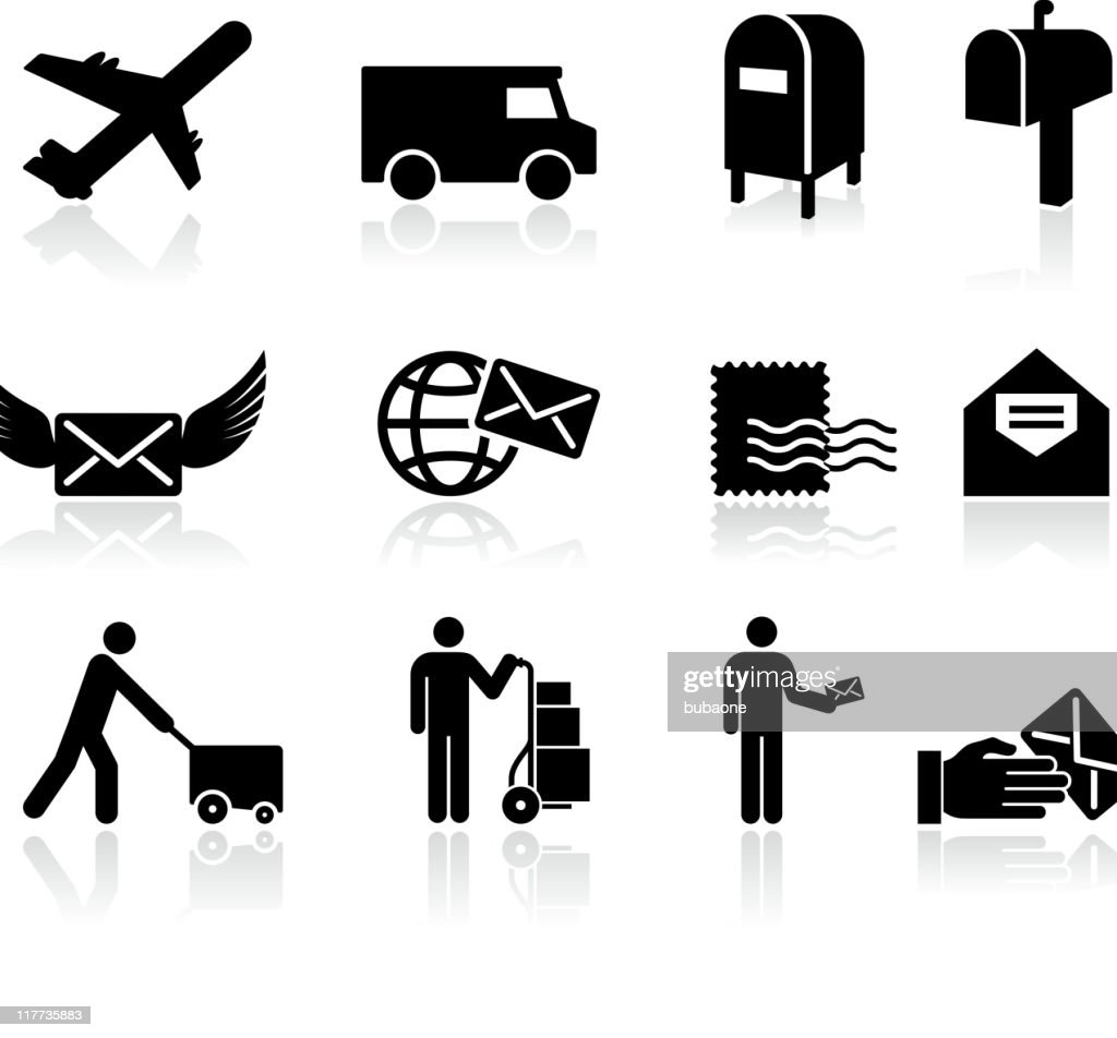 mail black and white royalty free vector icon set