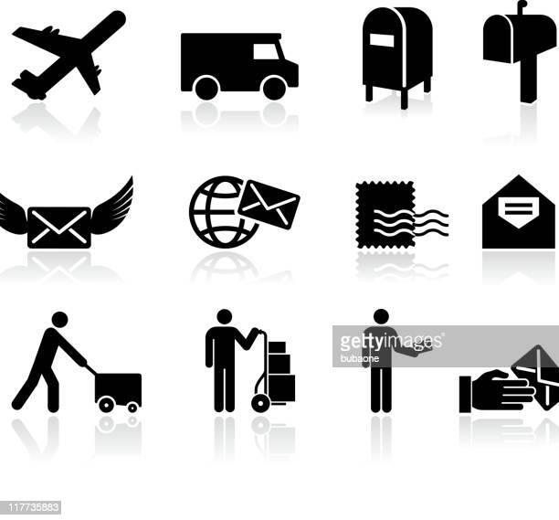 post schwarz und weiß lizenzfreie vektor icon-set - gliedmaßen körperteile stock-grafiken, -clipart, -cartoons und -symbole