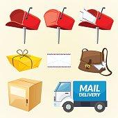 Mail delivery set of elements, vector illustration