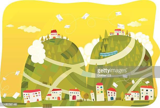 illustrations, cliparts, dessins animés et icônes de livraison du courrier - village