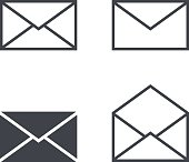 Mail envelope icon set, modern minimal flat design style icons