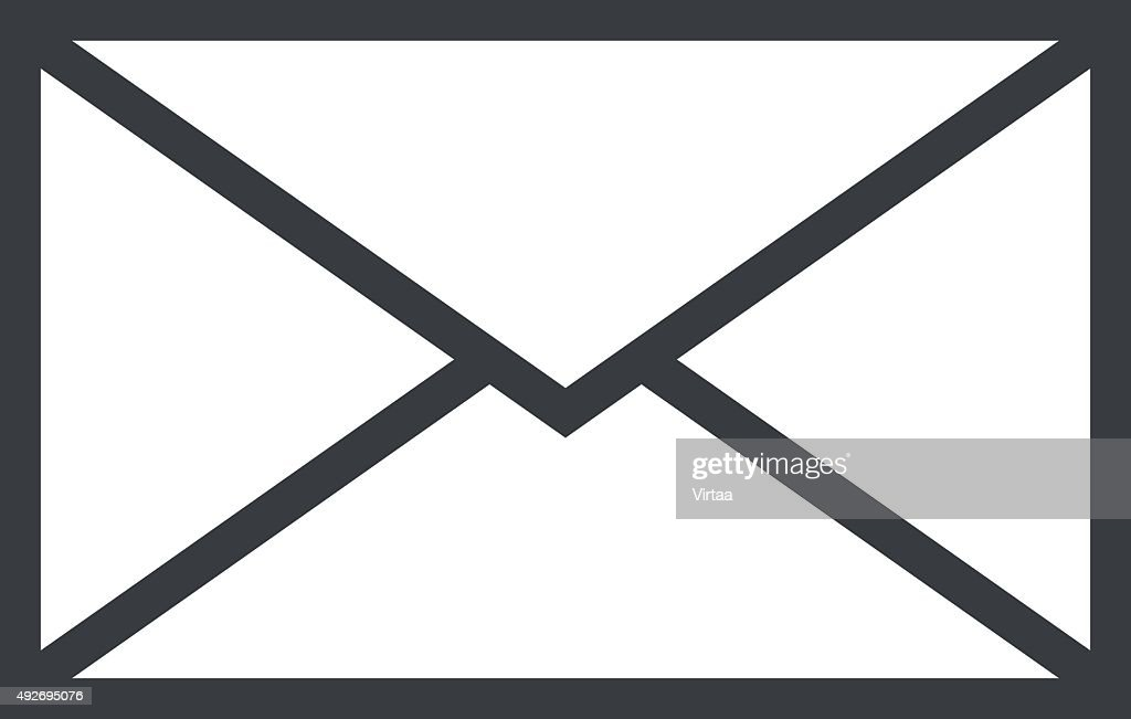 Mail envelope outline icon, modern minimal flat design style