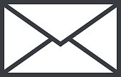 Mail envelope outline icon, modern minimal flat design style