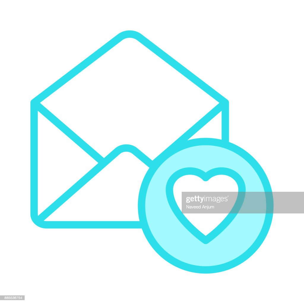 mail heart colour line icon