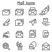 Mail icon set in thin line style