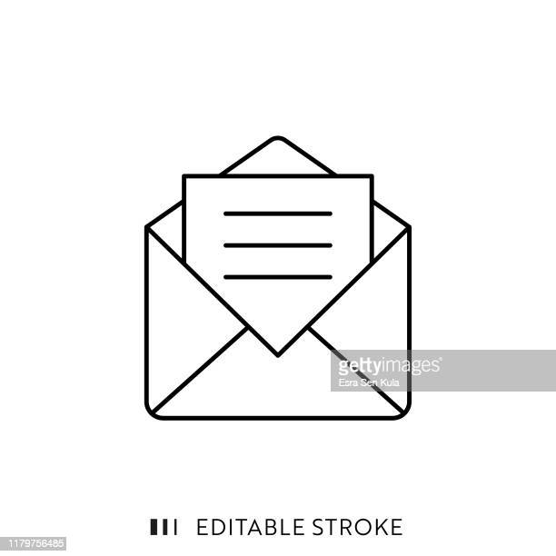 mail icon with editable stroke and pixel perfect. - correspondência stock illustrations