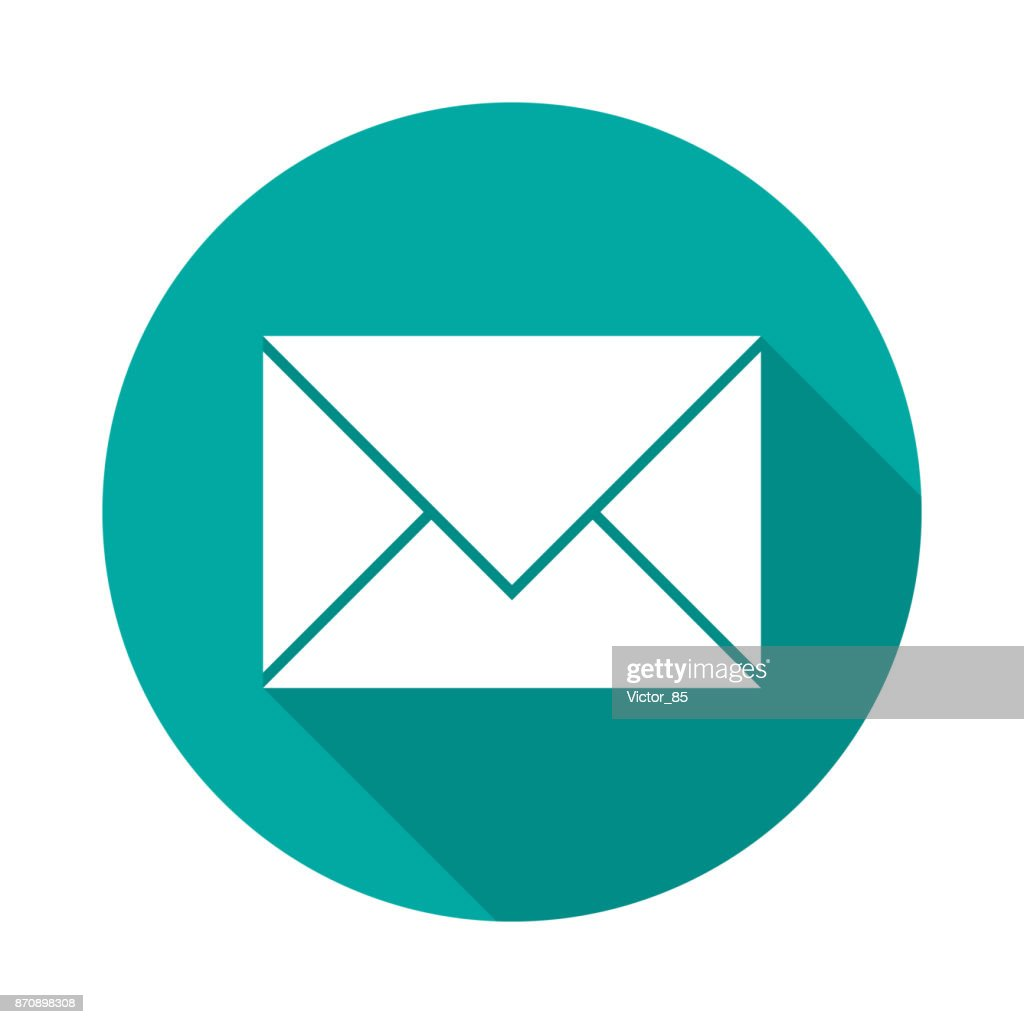 Mail icon with long shadow. Flat design style.