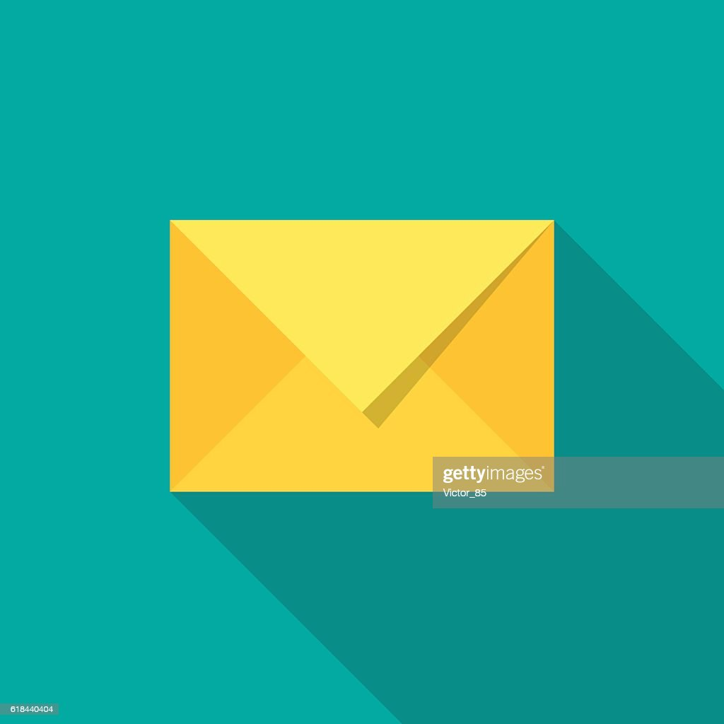 Mail icon with long shadow.