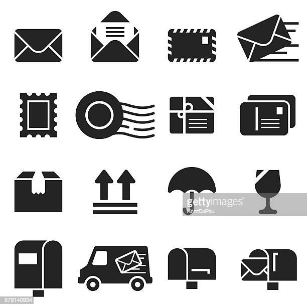 mail icons [black edition] - truck stock illustrations