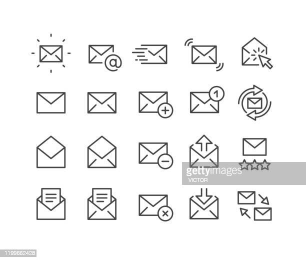 mail icons - classic line series - e mail inbox stock illustrations