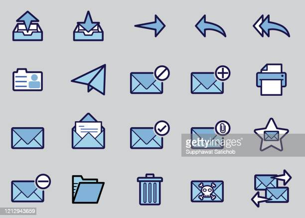 mail icons set - outbox filing tray stock illustrations