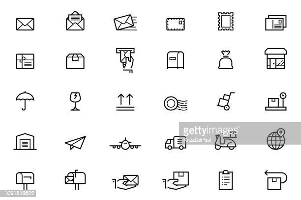 mail icons - mailbox stock illustrations