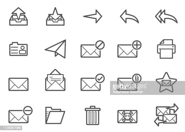 mail line icons set - e mail inbox stock illustrations