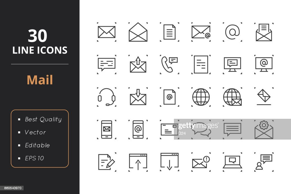 30 Mail Line Icons