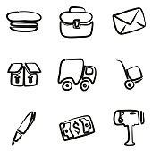 Mail Man Icons Freehand