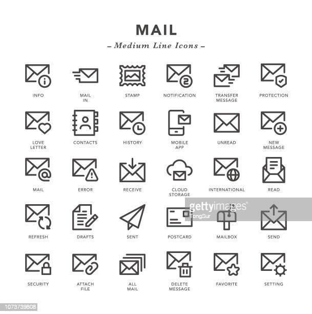 ilustraciones, imágenes clip art, dibujos animados e iconos de stock de correo - los iconos de la línea media - carta de amor