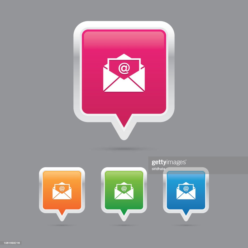 Mail or Envelope Pin Marker Icons