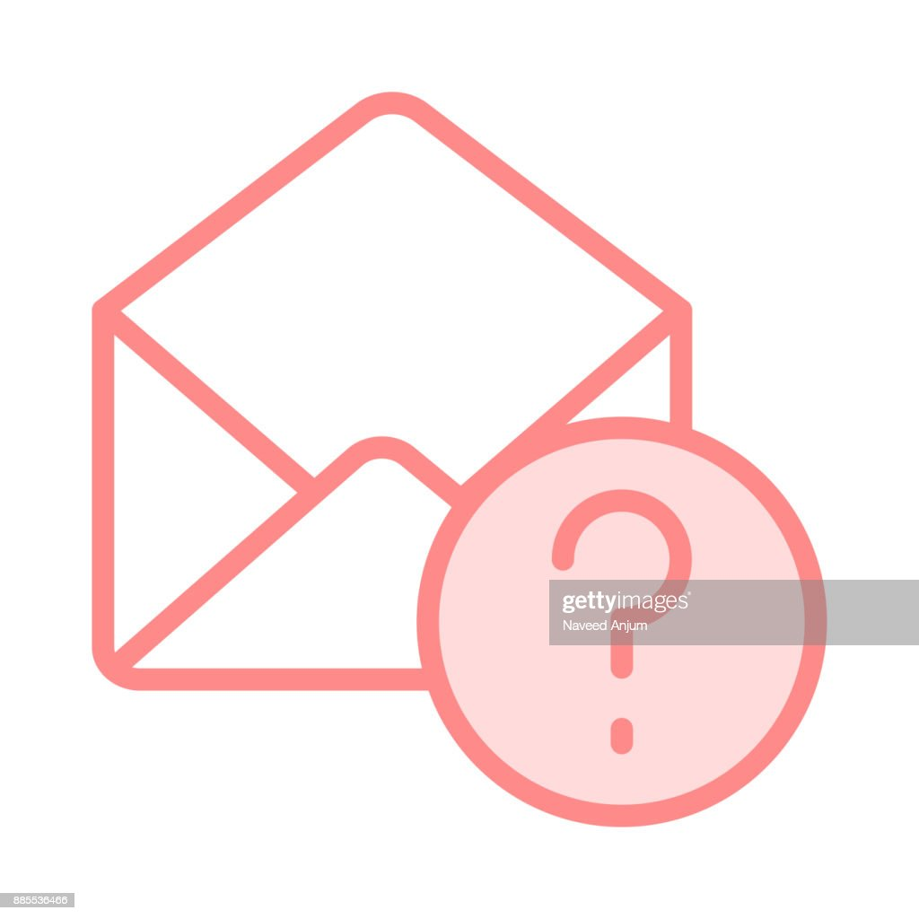 mail question mark colour line icon