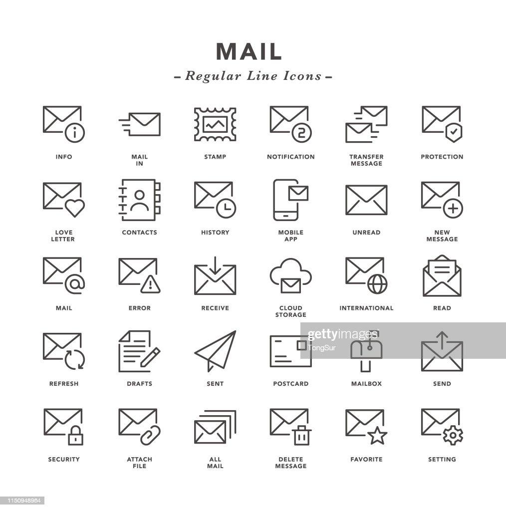 Mail - Regular Line Icons : Stock Illustration