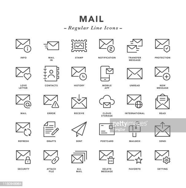 mail - regular line icons - receiving stock illustrations